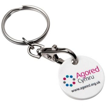 Promotional Recycled Trolley Chip Keyring - Round
