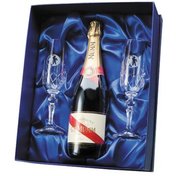 Promotional Flamenco Crystal Flutes with Mumm Champagne