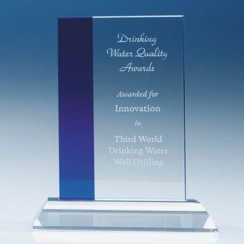 Bespoke 15cm Optical Crystal Blue Line Rectangle Award