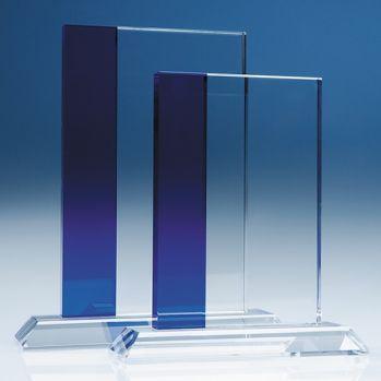 Bespoke 19cm Optical Crystal Blue Line Rectangle Award