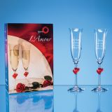 2 Personalised L'Amour Red Heart Champagne Flutes with Giftbox