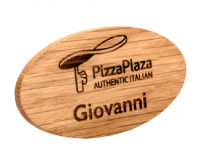 Personalised ECO FRIENDLY Wooden Full Colour Name Badge