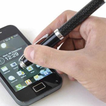 Branded Carbon Fibre Soft Stylus Ball Pen