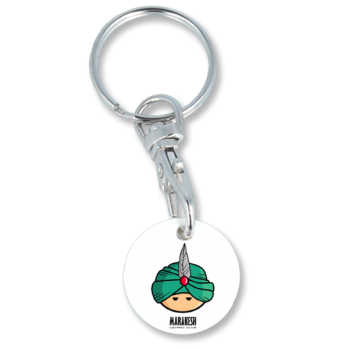Recycled Eco Trolley Chip Keyring - Round