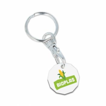 Compostable Eco Trolley Chip Keyring - New Shape