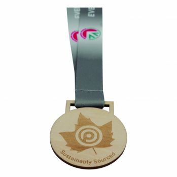 Promotional Wooden Medal with Lanyard