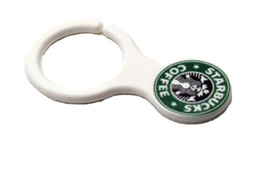 Printed Trolley Clip Keyring  - WHITE