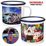 Full Colour 10oz White Enamel Mug with Coloured Rim