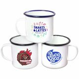 Printed 10oz White Enamel Mug with Coloured Rim