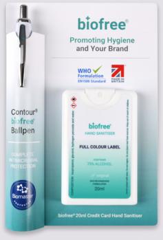 Promotional BioFree Contour Pen & Sanitiser Duo